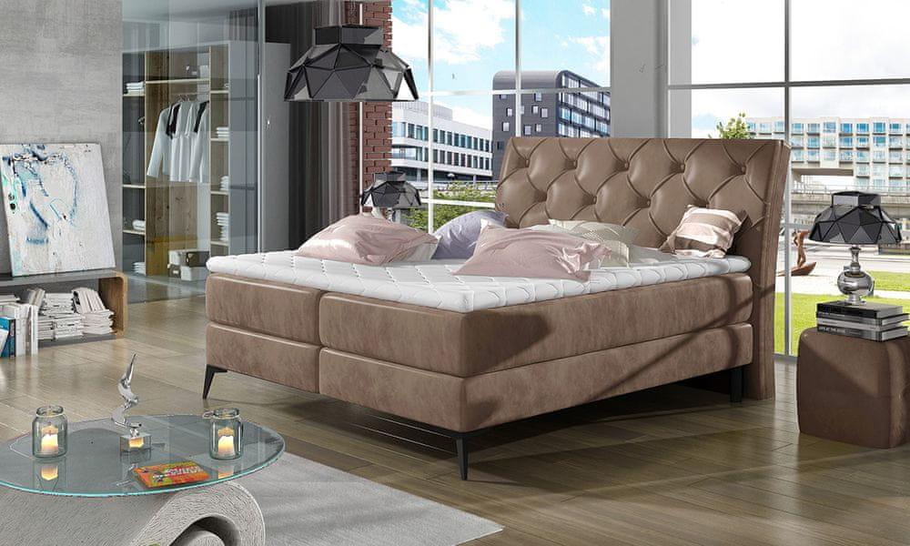 nabbi Lazio 160 čalúnená manželská posteľ s úložným priestorom hnedá