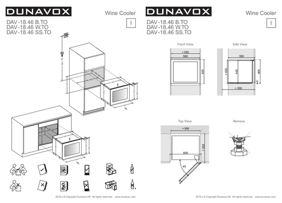 Dunavox DAVG-18.46B.TO vgradna vinska vitrina