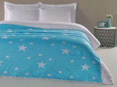 Denizli Concept Cienka narzuta na łóżko GWIAZDY kolor turkusowy 190x220 cm.