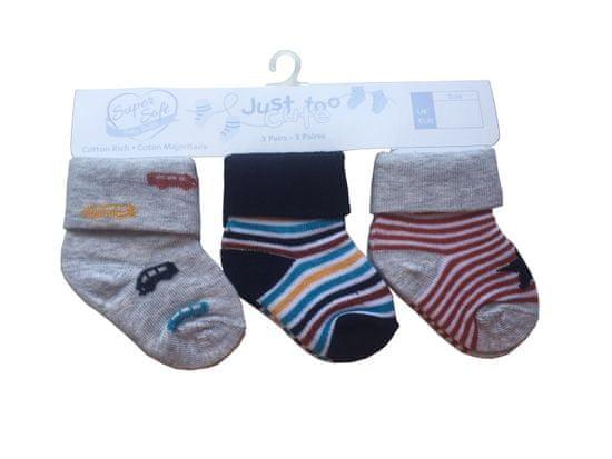 Just Too Cute 3pack chlapeckých ponožek Auta