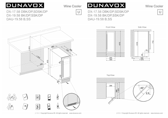 Dunavox DAUF-19.58B podpultna vinska vitrina