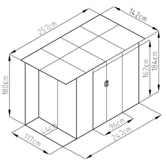 Rojaplast CHESTER A domček 184 × 257 × 142 cm, sivá