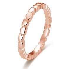 Beneto Pozlacený stříbrný prsten se srdíčky AGG344-ROSE (Obvod 51 mm) stříbro 925/1000