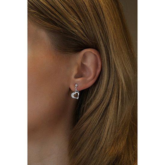 Silvego Ezüst szív fülbevaló cirkóniával FW8680