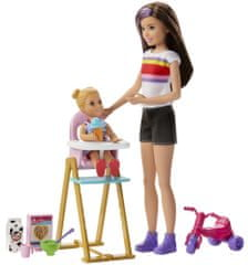 Mattel Barbie chůva herní set s jídelní židličkou