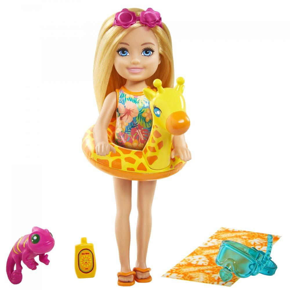 Mattel Barbie Chelsea s doplňky na pláž kruh s žirafou