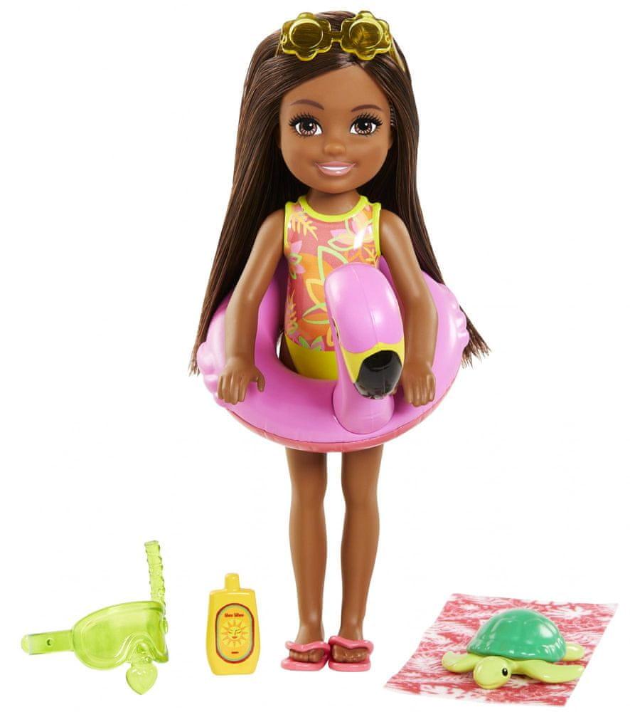 Mattel Barbie Chelsea s doplňky na pláž kruh s plameňákem