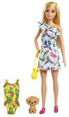 Mattel Barbie sestra s plavalkami in roza kovčkom