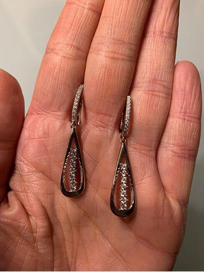 JVD Osupljivi srebrni uhani s cirkoni SVLE0840XH2BI00