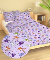 Dadka Povlečení bavlna do postýlky Kočky fialové 90x130, 45x60 cm