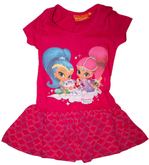 Nickelodeon Dívčí růžové šaty Shimmer a Shine s krátkým rukávem., 92