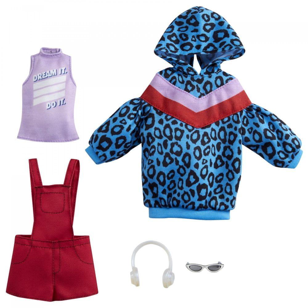 Mattel Barbie Oblečky 2 ks Modrá mikina a červené šortky