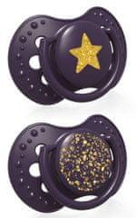 LOVI Stardust dinamična silikonska duda, 0-3m, 2 kosa, vijolična