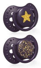 LOVI Stardust dinamična silikonska duda, 6-18m, 2 kosa, vijolična