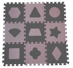 BabyDan Hrací podložka puzzle Geometrické tvary, rose 90x90 cm