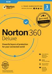 Norton 360 Deluxe - 3 zařízení | 25 GB zabezpečené cloudové úložiště | 1 rok | Android, PC, Mac - Elektronická licence