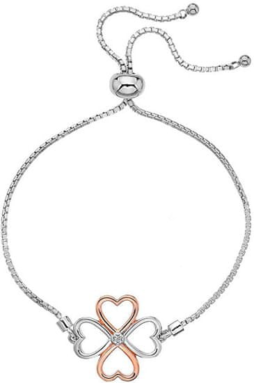 Hot Diamonds Dvobarvna srebrna zapestnica iz štirih listov z diamantom Lucky in Love DL604