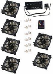 Eurocase Ventilátor pro PC RGB 120mm (FullControl spot Led), set 6ks + controller