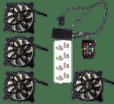 Eurocase Ventilátor pro PC RGB 120mm, set 4ks + controller