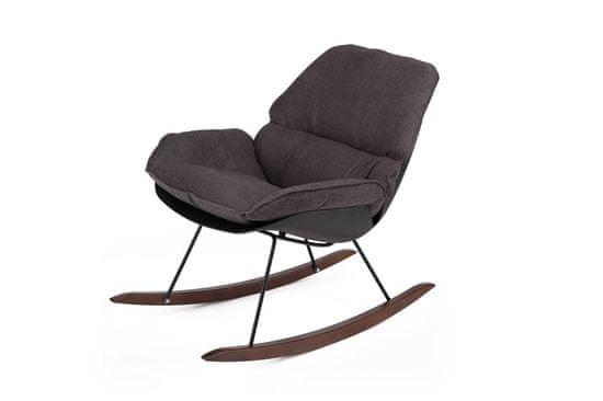shumee NINO gugalni stol črno - temno siva tkanina, leseni tekači
