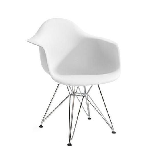 shumee Fotel DAR SILVER biały.01 - polipropylen, podstawa chromowana