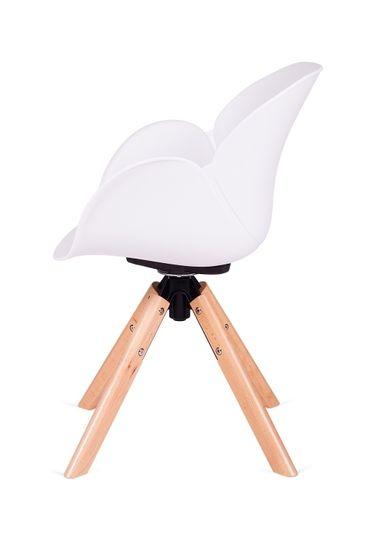 shumee FLOWER 360 bel fotelj - PP / lesena vrtljiva osnova