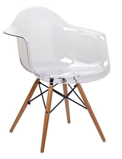 shumee ICE WOOD prosojni fotelj - polikarbonat, bukova podlaga