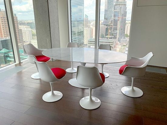 shumee TULIP bel fotelj z rdečo blazino - ABS, kovinska podlaga
