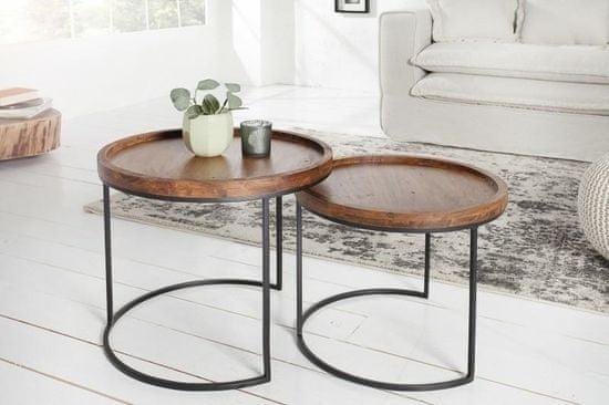 shumee INVICTA zestaw stolików MAKASSAR - lite drewno akacji, podstawa metalowa