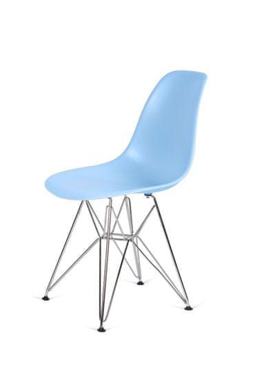 shumee Krzesło DSR SILVER jasny niebieski.12 - podstawa metalowa chromowana