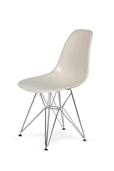 shumee Krzesło DSR SILVER migdał pralinowy.29 - podstawa metalowa chromowana