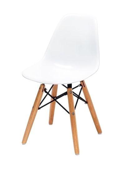 shumee Krzesło dziecięce JUNIOR DSW PREMIUM białe - polipropylen, nogi bukowe