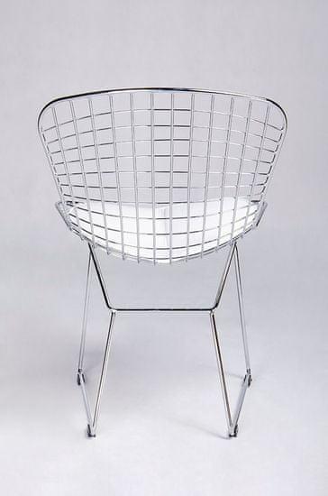 shumee Krzesło NET SOFT chrom - biała poduszka, metal