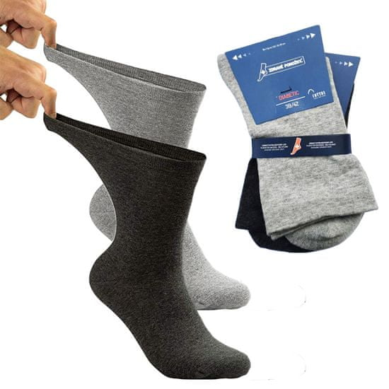 Zdravé Ponožky Extra široké a roztažné bavlněné elastické zdravotní DIAbetické ponožky 91008