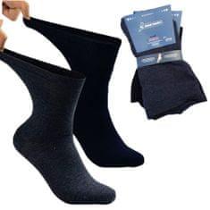 Zdravé Ponožky Extra široké a roztažné bavlněné elastické zdravotní DIAbetické ponožky 91008 2-pack, modrá, 43-46