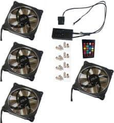 Eurocase Ventilátor pro PC RGB 120mm (Ring type), set 4ks + controller