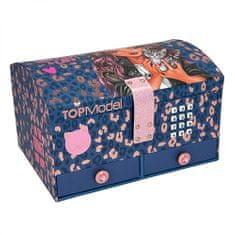 Top Model Velika kodna škatla z ogledalom in predali , Talita & Lucy, vijolični leopardov vzorec z detajli iz roza zlata