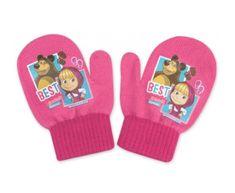 """SETINO Dekliške rokavice """"Maša in medved"""" - svetlo roza - 10x13 cm"""