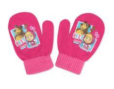 """SETINO Dekliške rokavice """"Maša in medved"""" - temno roza - 10x13 cm"""
