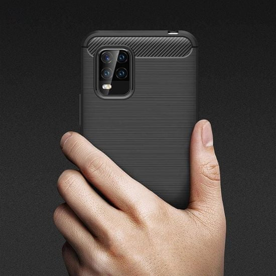 MG Carbon Case Flexible silikónový kryt na Xiaomi Mi 10 Lite, modrý