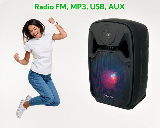 Manta SPK5100 karaoke zvočni sistem, prenosni, vgrajena baterija, BT 5.0, USB/MP3, LED lučke, Radio FM