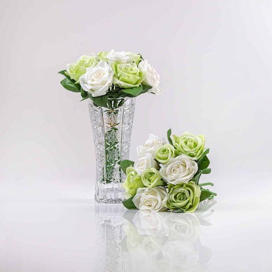 JULEST Hedvábná umělá kytička z růží TEREZIE bílo-zelená