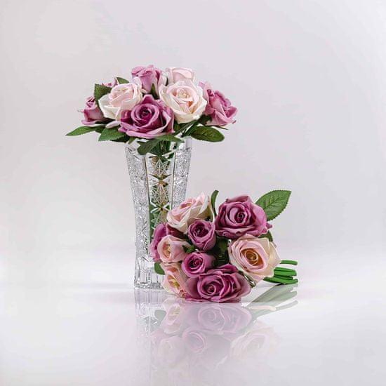 JULEST Hedvábná umělá kytička z růží TEREZIE růžově-fialová