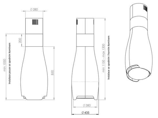 Ciarko Design Odsávač ostrovčekový Hydria Black (CDW4401C) + 4 roky záruka po registraci