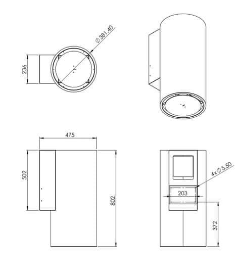 Ciarko Design Odsávač komínový Tubus Inox (CDP3801I) + 4 roky záruka po registraci