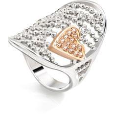 Morellato Ocelový bicolor prsten Cuoremio SADA09 (Obvod 52 mm)