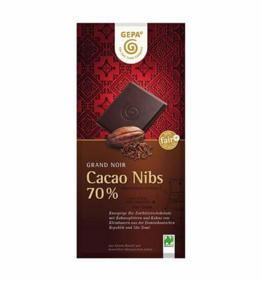 Gepa Bio hořká čokoláda s kousky kakaa 100 g