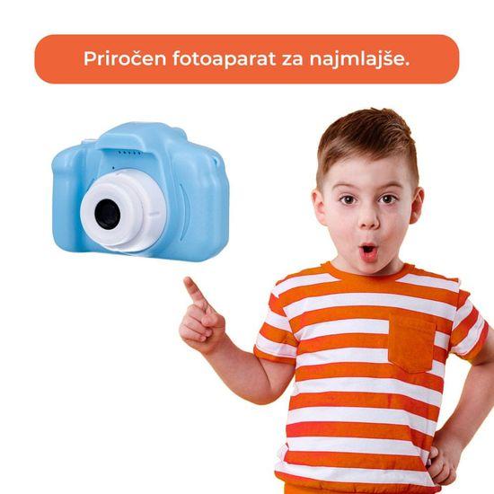 Sinnect fotoaparat za otroke, FHD, 1080p, moder + SD kartica, 32GB