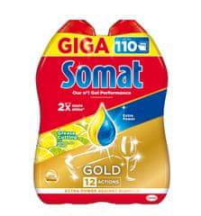 Somat gel za pomivanje posode Gold AntiGrease Lemon, 2 x 990 ml, 110 pranj