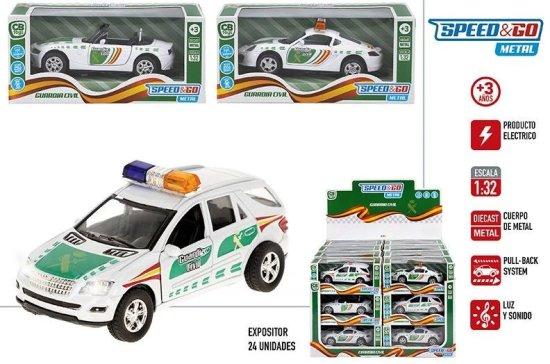 SELIS policijsko vozilo s pull back zvokom in lučmi, kovinsko, 17 cm
